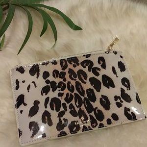 Kate Spade Leopard patent pouch or makeup bag